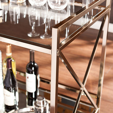 Maxton Metal-Top Serving Cart, One Size , Yellow