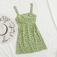 Tie Back Daisy Floral Print Cami Dress