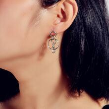 Round Link Drop Earrings