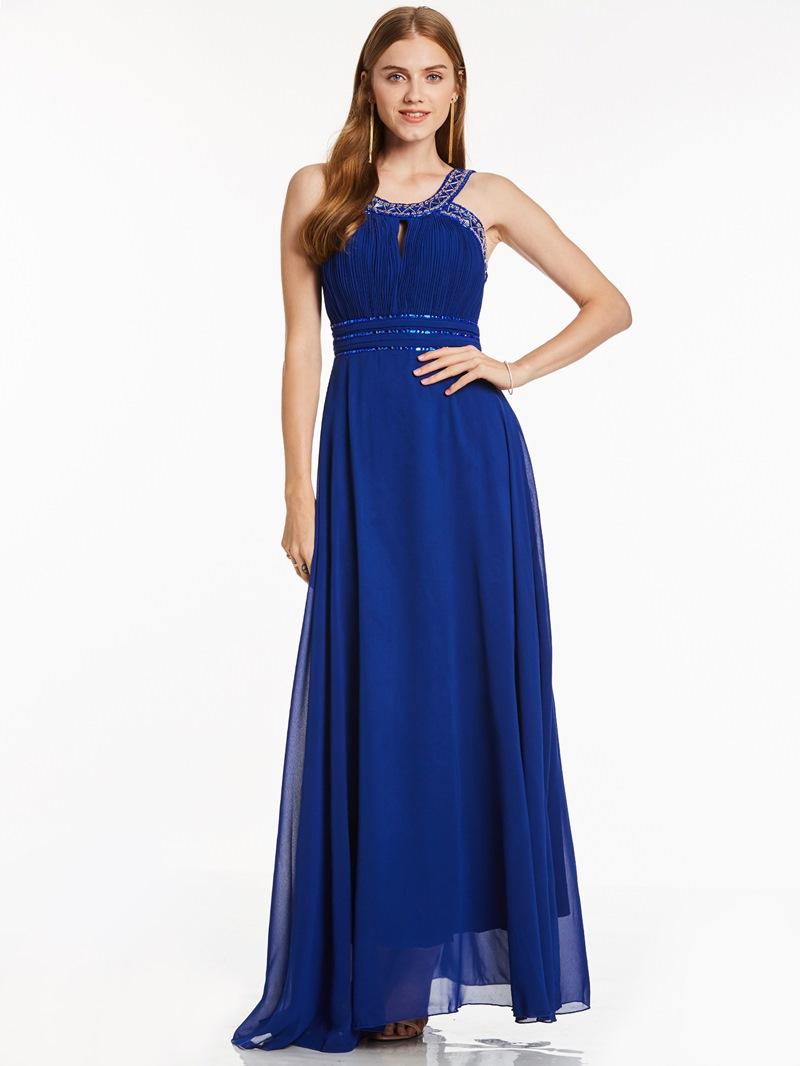 Ericdress Straps Beaded Pleats A Line Evening Dress