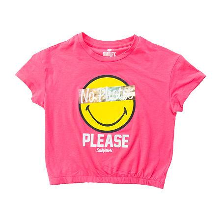 Smiley World Big Girls Crew Neck Short Sleeve Graphic T-Shirt, X-large (16) , Pink