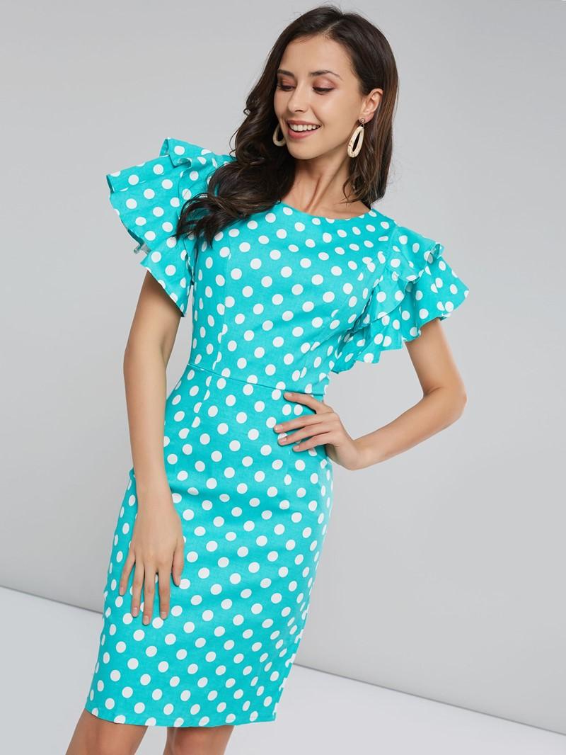Ericdress Polka Dots Petal Sleeve Knee-Length Bodycon Dress