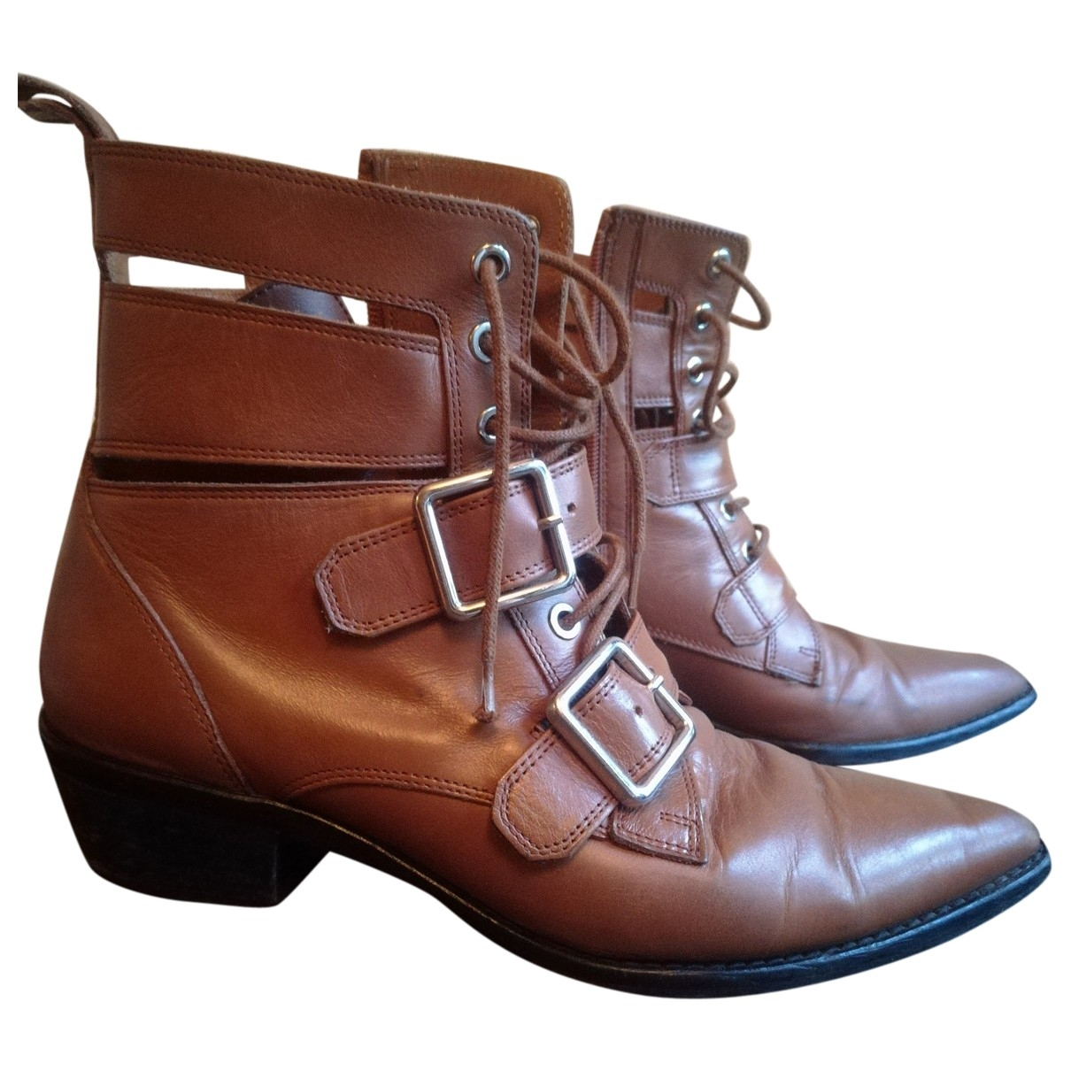 Uterque \N Brown Leather Ankle boots for Women 39 EU