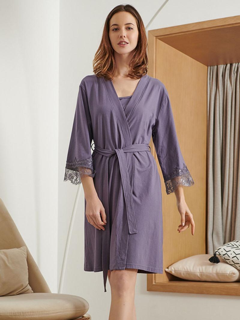 Ericdress Simple Plain Three-Quarter Sleeve Pajama Suit