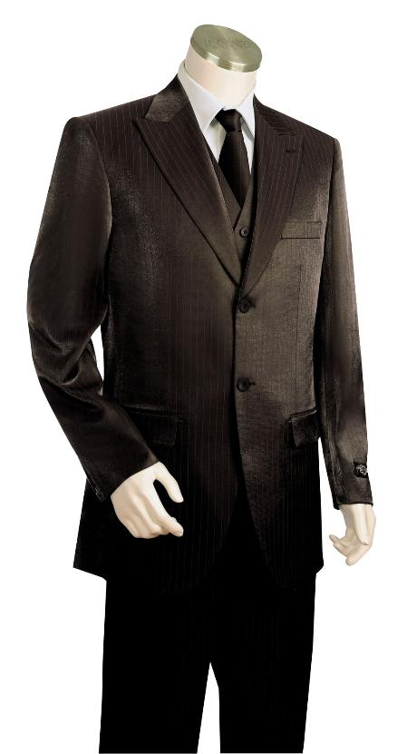 3 Piece 2 Button Black Vested Zoot Suit Mens