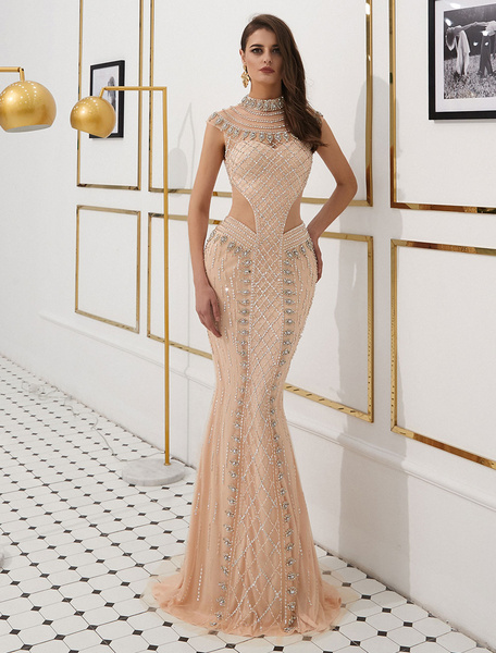 Milanoo Mermaid Evening Dresses Luxury Heavy Beading Illusion Cutout Formal Dress