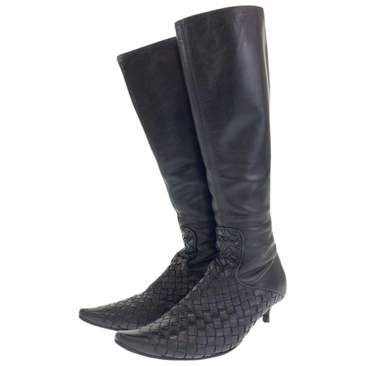 Bottega Veneta N Leather Boots for Women 38.5 EU