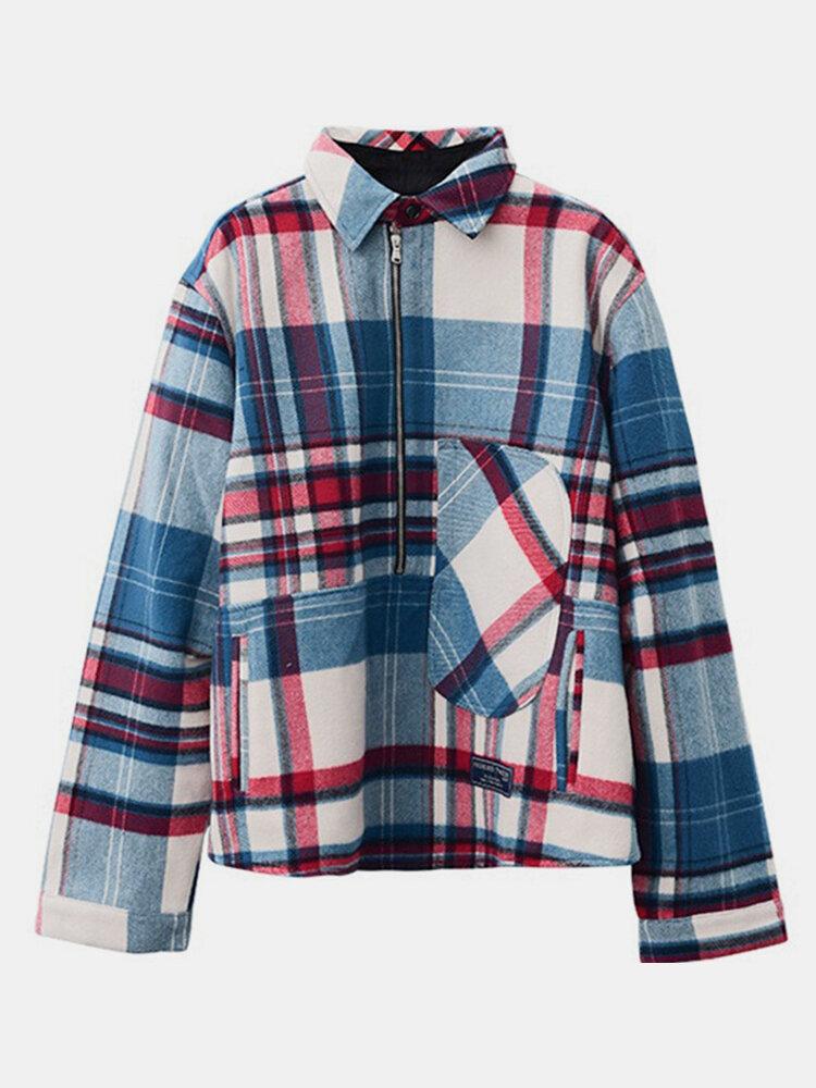 Lapel Contrast Color Plaid Print Long Sleeve Jacket For Women