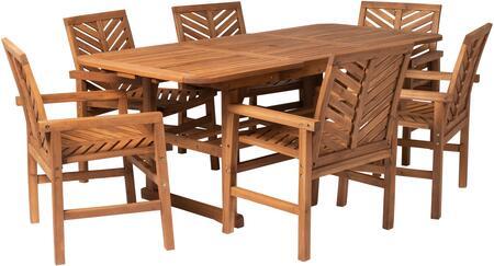 OW7TXVINBR 7-Piece Extendable Outdoor Patio Dining Set in