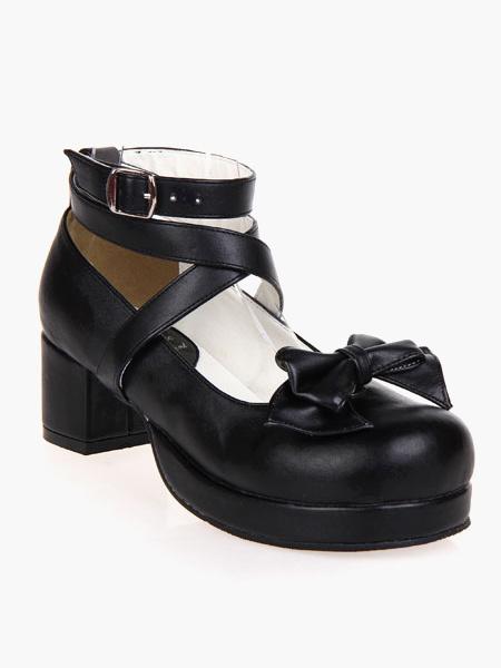 Milanoo Zapatos Lolita Negros Tacones Gruesos Tirantes de Tobillo Lazo