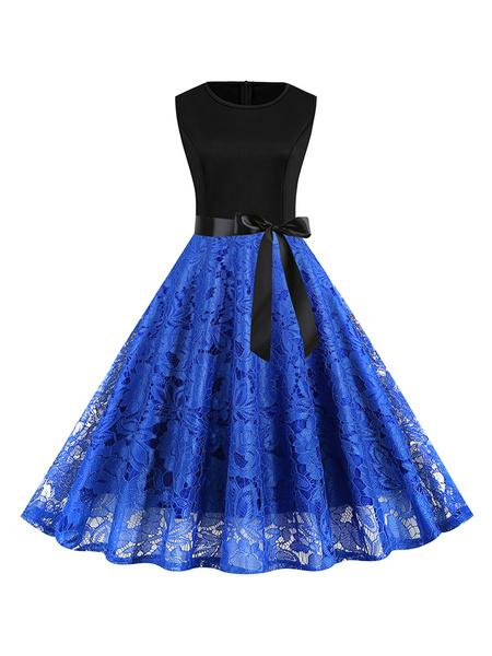 Milanoo Vintage Dress Jewel Neck Zipper Layered Sleeveless Woman\'s Knee Length Embroidery Swing Dress