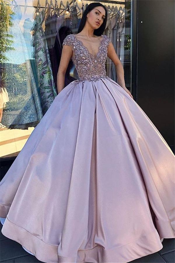 Decollete en V sans manches cristal perles robe de bal robe de bal