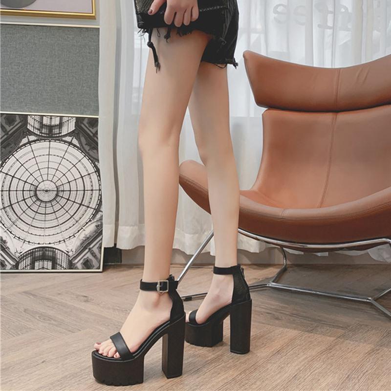 Ericdress Chunky Heel Open Toe Zipper Thread Sandals