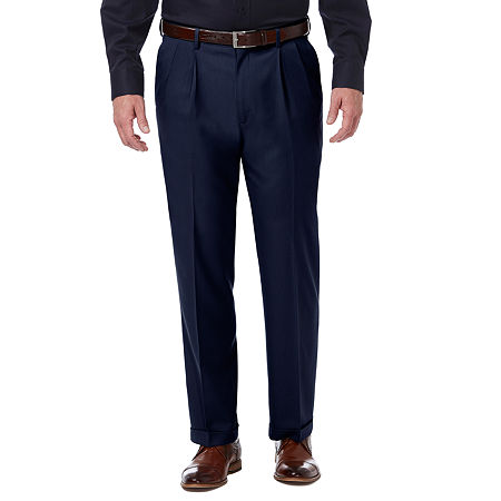 Haggar Premium Comfort Dress Pant Classic Fit Pleated, 40 31, Blue