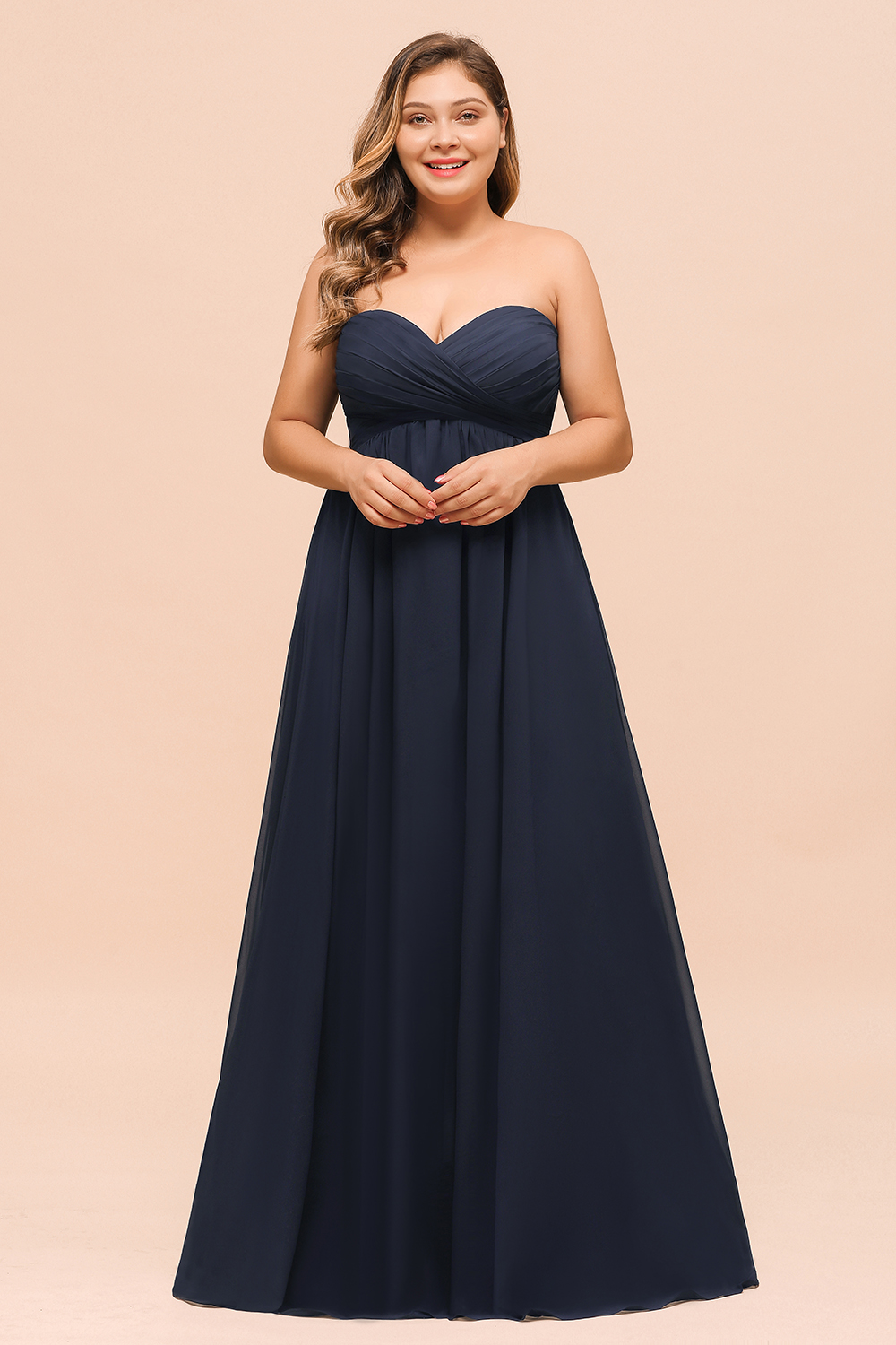 BMbridal Affordable Strapless Sweetheart Long Bridesmaid Dress with Ruffle