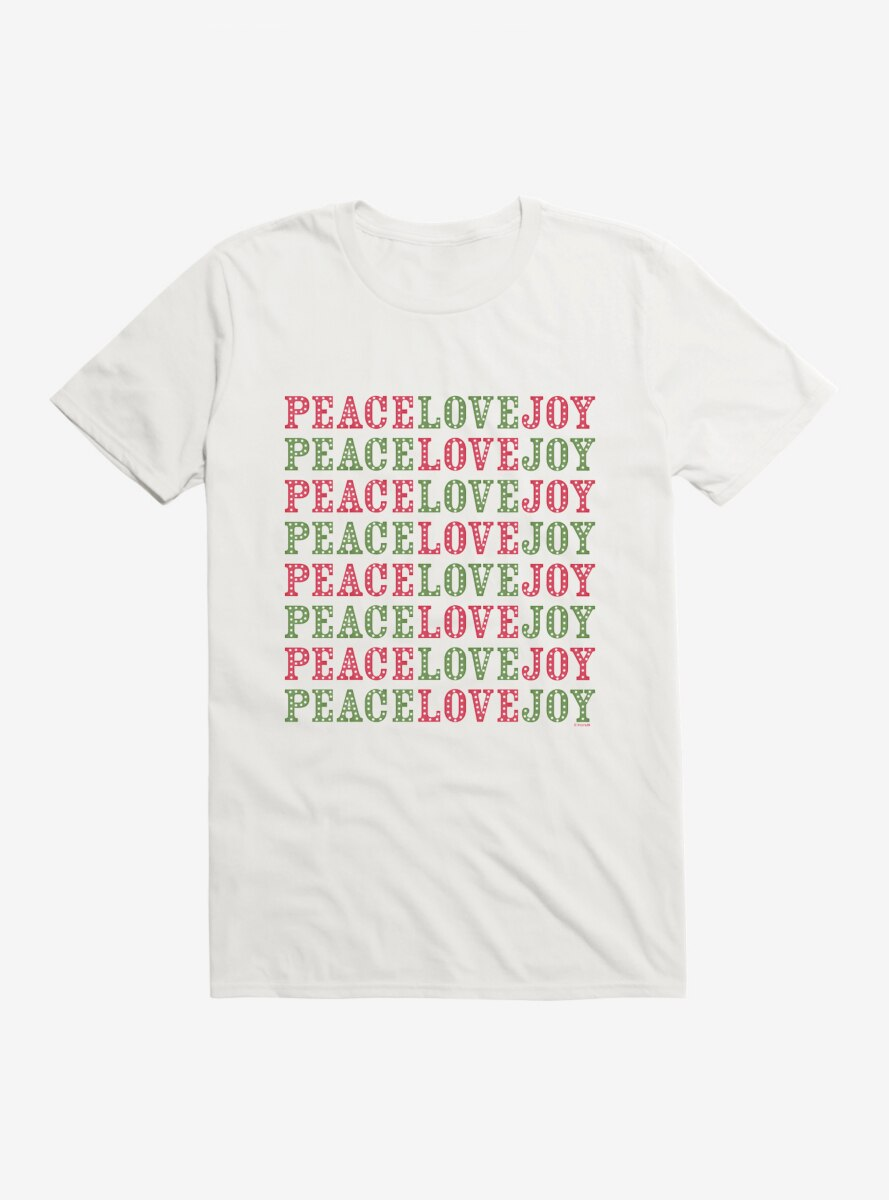 Peanuts Christmas Peace Joy & Love Script T-Shirt