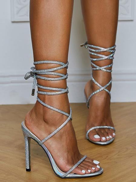 Milanoo Women Sandals Stiletto Heel Square Toe Lace Up Sandals