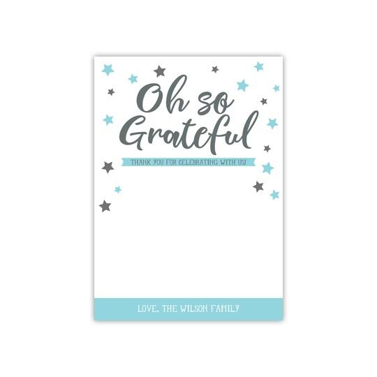 20 Pack of Gartner Studios® Personalized Gender Reveal Flat Baby Thank You Card in Aqua Blue | 5