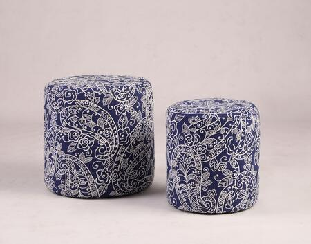 5009-OT-BLU 2-Piece Large and Small Ottoman Set with Paisley Pattern Fabric Upholstery in