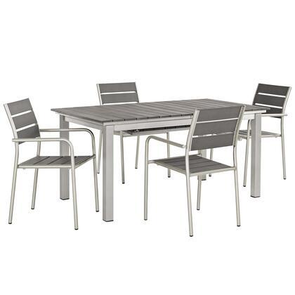 Shore Collection EEI-3197-SLV-GRY-SET 5 PC Outdoor Patio Aluminum Outdoor Dining Set in Silver Grey