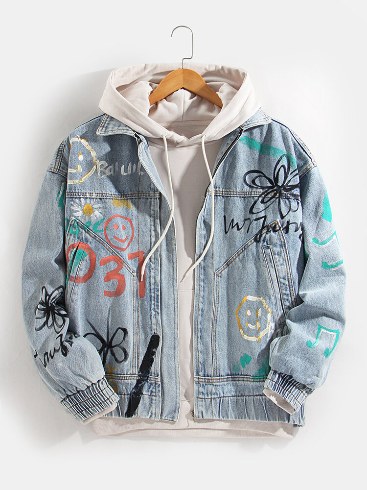 Mens Cartoon Graffiti Zip Up Elastic Cuff Slant Pocket Cotton Denim Jacket