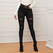 Ripped Skinny Jeans Without Belt