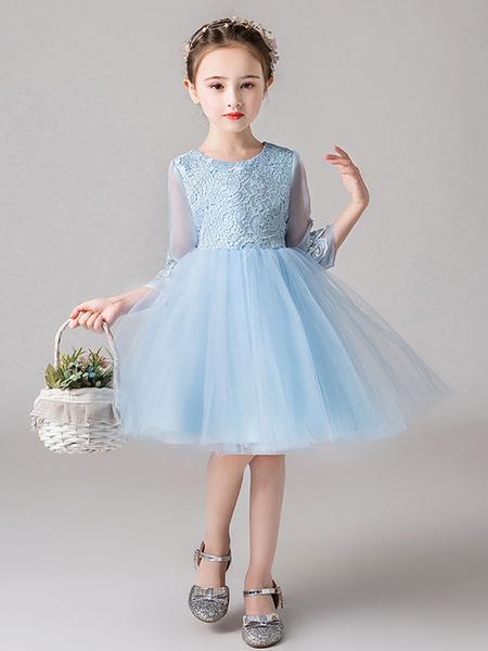 Milanoo Vestidos de niña de flores Cuello de joya Medias mangas Arcos Vestidos de fiesta para niños