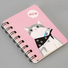 1pack Cat Print Cover Spiral Notebook