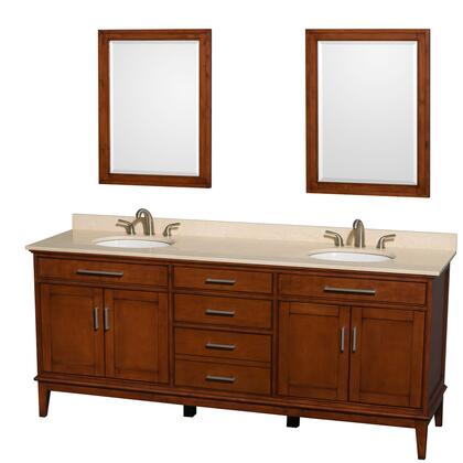 WCV161680DCLIVUNRM24 80 in. Double Bathroom Vanity in Light Chestnut  Ivory Marble Countertop  Undermount Oval Sinks  and 24 in.