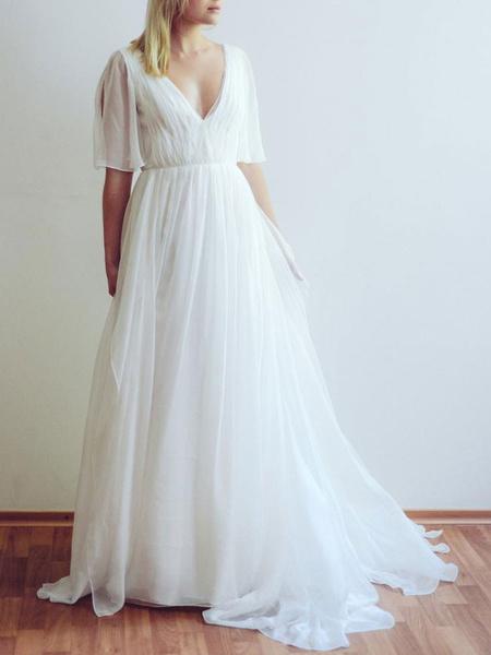 Milanoo Simple Wedding Dress A Line Chiffon V Neck Half Sleeves Pleated Floor Length With Train Bridal Dresses