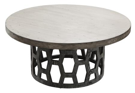 Centennial Collection 39 Coffee Table with Ash Veneer  Round Shape  Honeycomb Base  Distressed Carbon Top in Two-Tone Cerused Oak