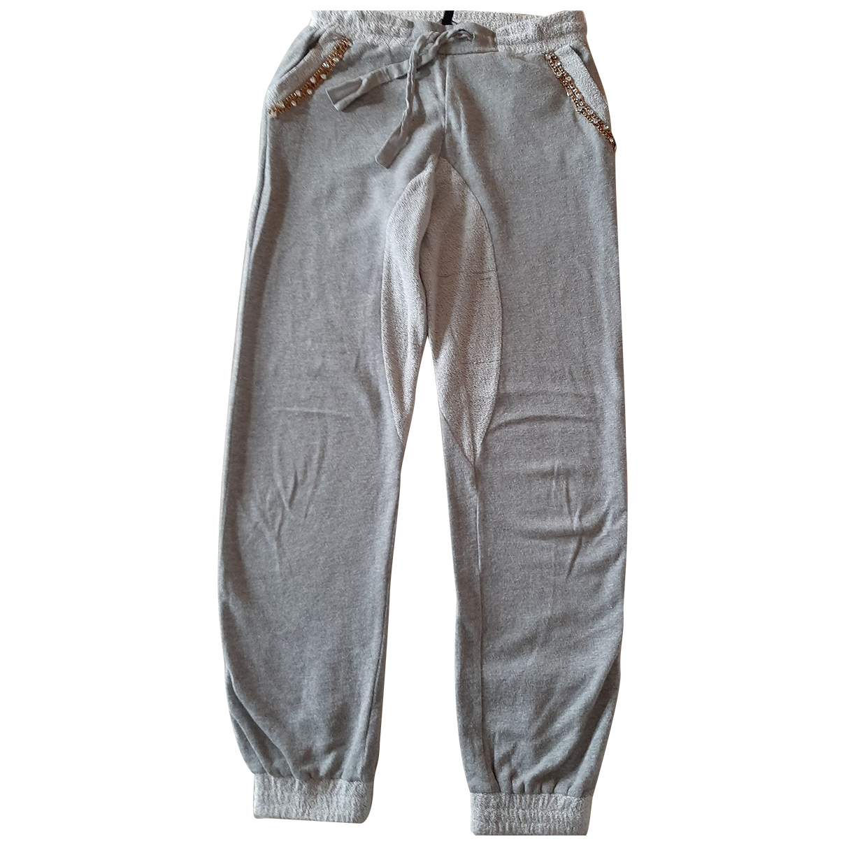 Twin Set N Grey Cotton Trousers for Kids 12 years - XS FR