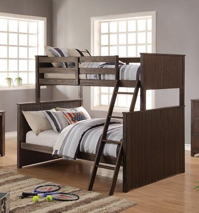 Hector Collection 38020 Twin Over Full Size Bunk Bed with Easy Access Guard-Rail  Right Facing Ladder  New Zealand Pine Wood and Ash Veneer Materials