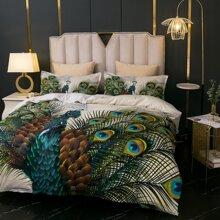Set ropa de cama con estampado de pavo real sin relleno