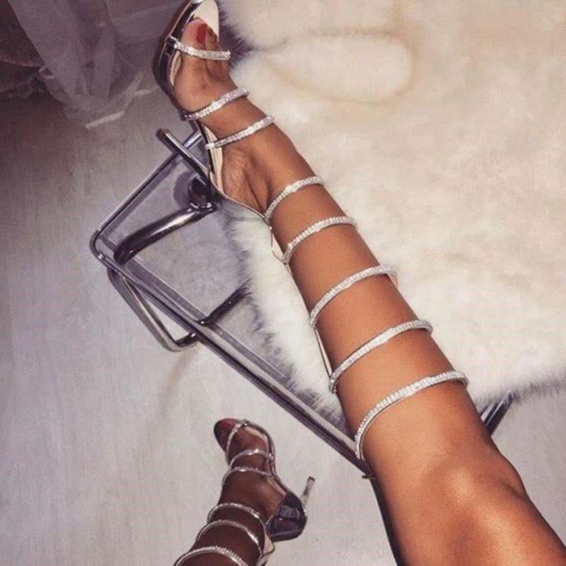 Ericdress Rhinestone Stiletto Heel Heel Covering Zipper Women's Sandals