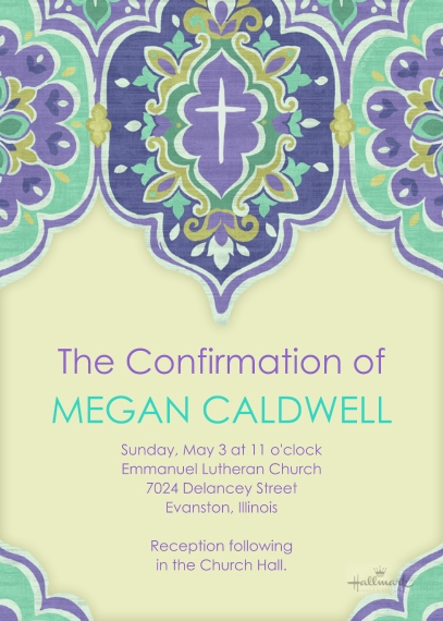 Confirmation 5x7 Cards, Premium Cardstock 120lb with Rounded Corners, Card & Stationery -Purple Design Cross