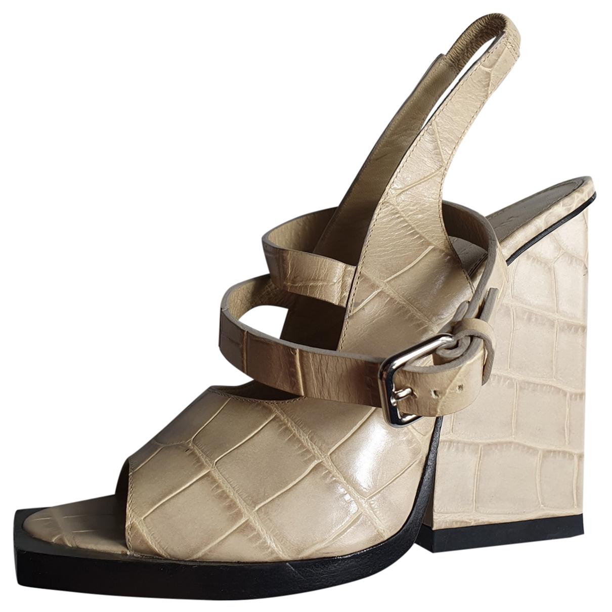 Jil Sander \N Beige Leather Sandals for Women 40 IT
