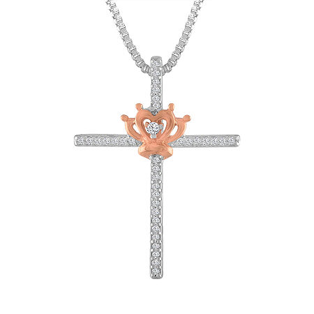 Womens 1/10 CT. T.W. Genuine White Diamond 14K Rose Gold Over Silver Sterling Silver Cross Pendant Necklace, One Size , No Color Family