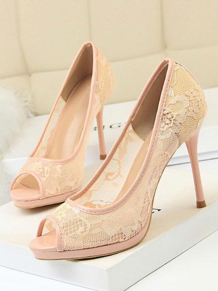 Milanoo Women Dress Shoes Peep Toe Stiletto Heel Pumps Black High Heels