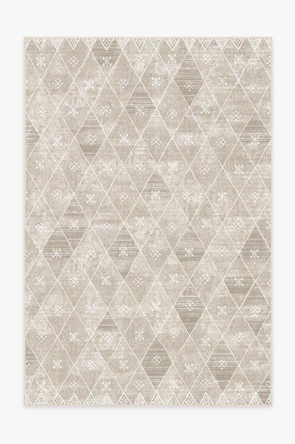 Washable Rug Cover | Kavi Diamond Silver Rug | Stain-Resistant | Ruggable | 6'x9'