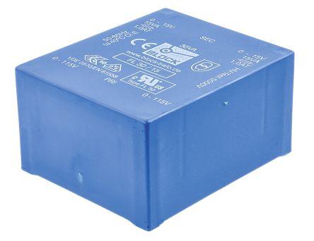 Block 15V ac 2 Output Through Hole PCB Transformer, 30VA