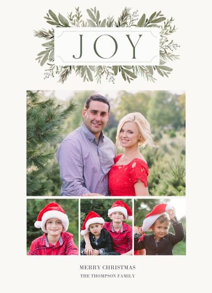 Christmas Photo Cards Mail-for-Me 7x10 Seal & Send Cards, Card & Stationery -Joy Nameplate