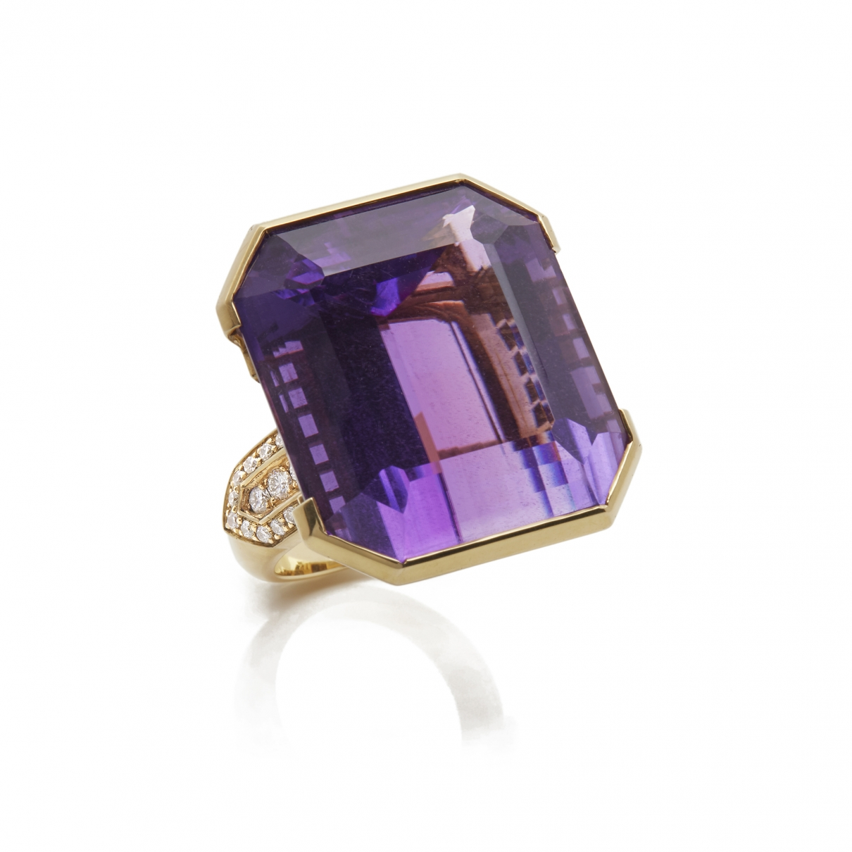 Non Signé / Unsigned Améthyste Purple Yellow gold ring for Women \N