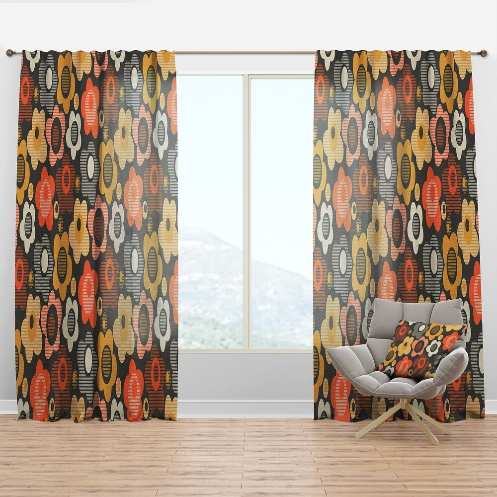 Designart Retro Floral Pattern VII Mid-Century Modern Curtain Panel (50 in. wide x 63 in. high - 1 Panel)
