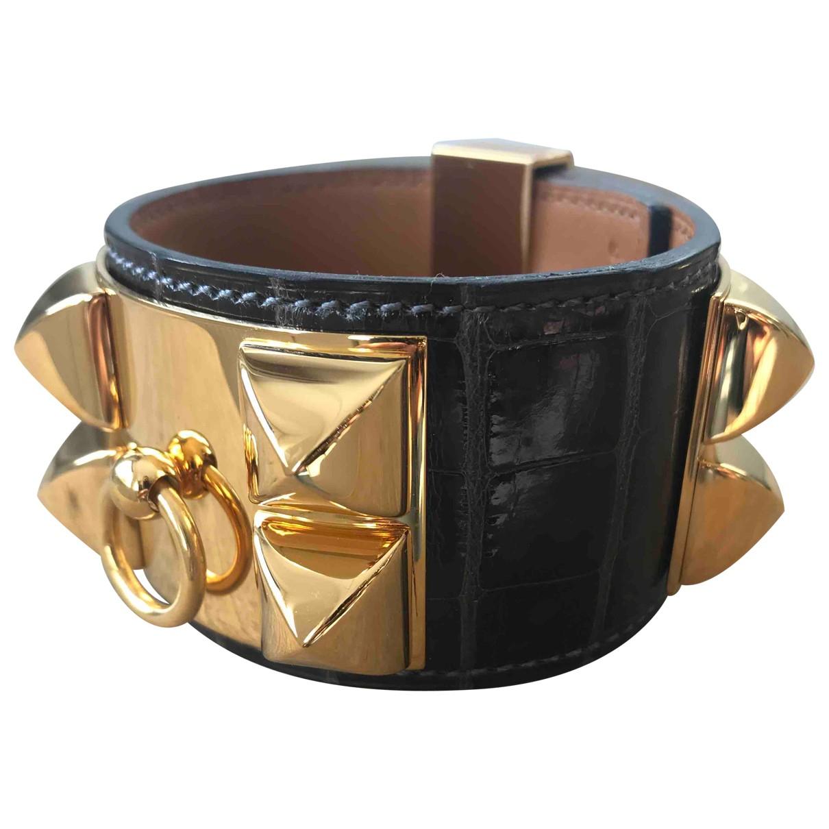 Hermes - Bracelet Collier de chien  pour femme en crocodile - marron