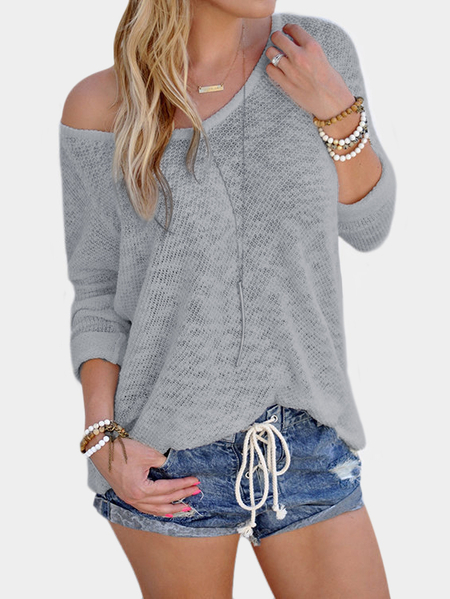 Yoins Grey Sexy V Neck Long Sleeves Knitted T-shirt