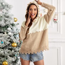 Two Tone Distressed Trim Hooded Sweater