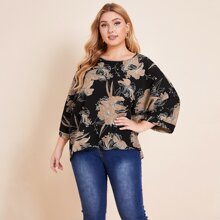 Plus Bell Sleeve Floral Print Top