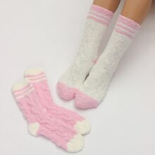 2 Paare Zweifarbige Socken