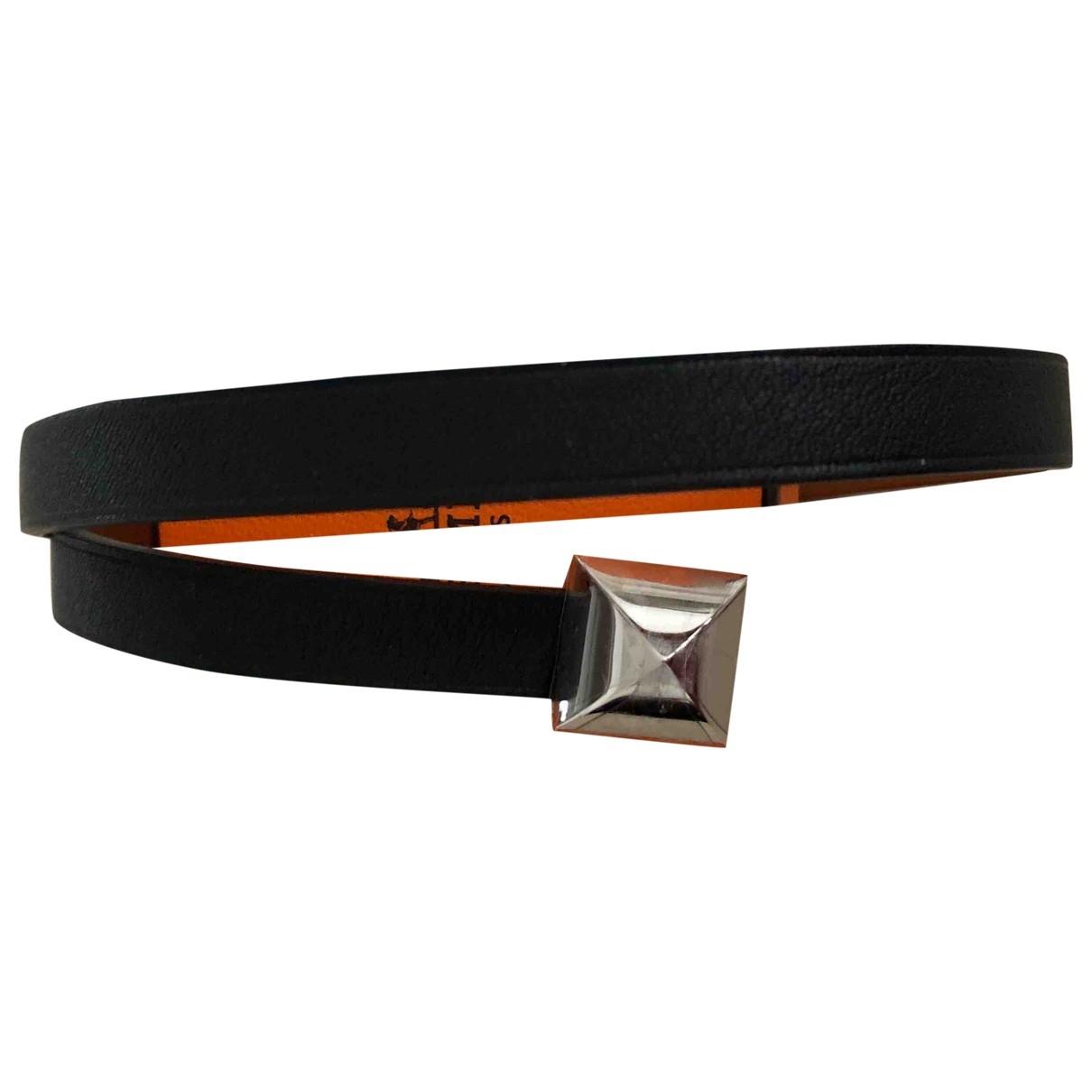 Hermes - Bracelet Medor pour femme en cuir - noir